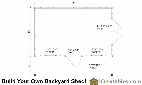 10x16 colonial garden shed with porch floor plans