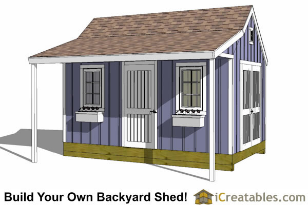 10x16 colonial new england garden shed plan with porch front