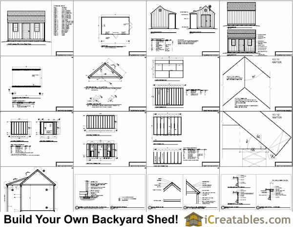 12X12 Shed with Porch Plan