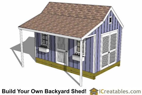 10x16 Colonial New England Shed Plan With Porch Top