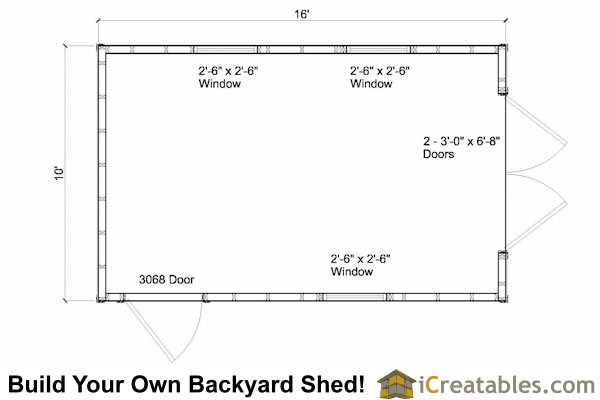 10x16 gambrel shed floor plans