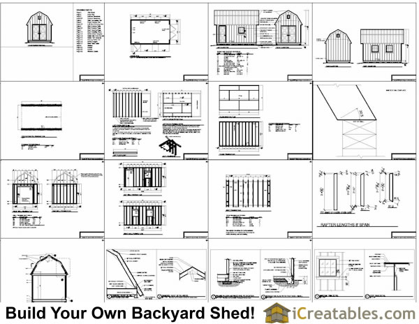 10x16 gambrel barn shed plans