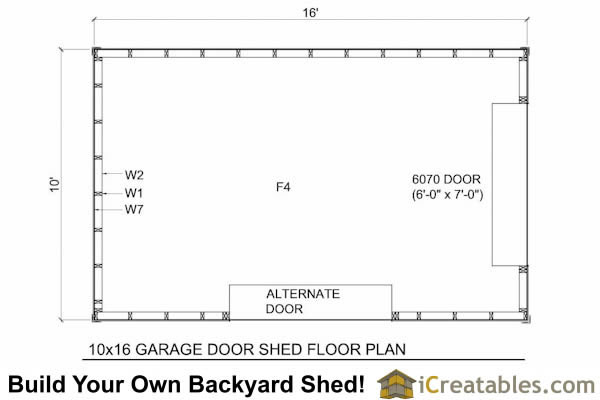 10x16 shed plans with garage door icreatables for Garage door plans free
