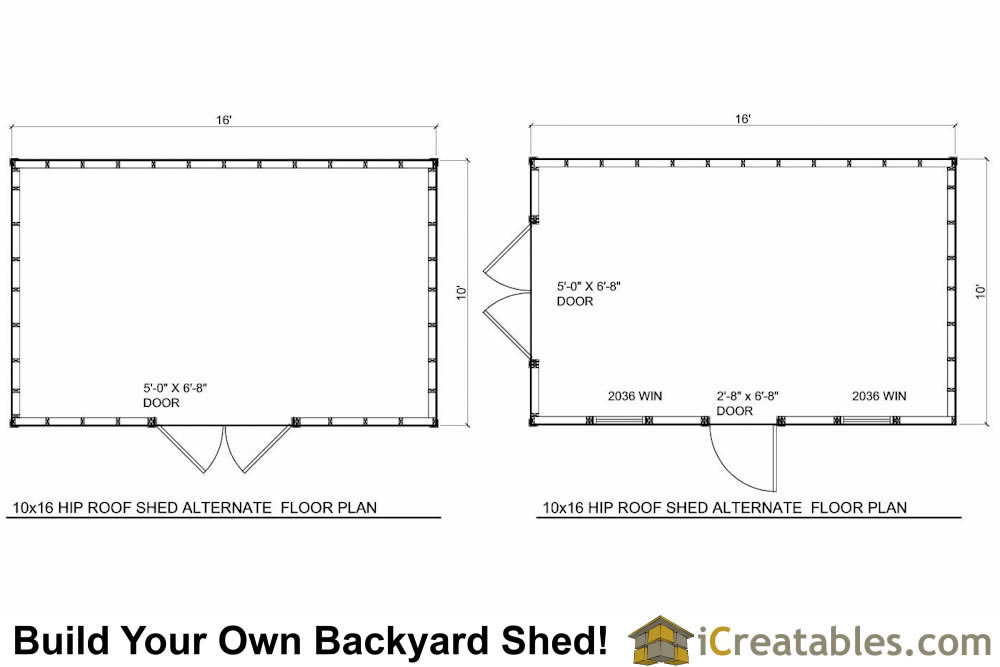 10x16 Hip Roof Shed Plans floor plans
