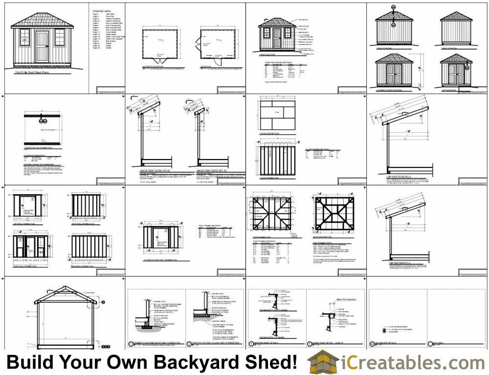 10x16 hip roof shed plans for Hip roof barn homes plans