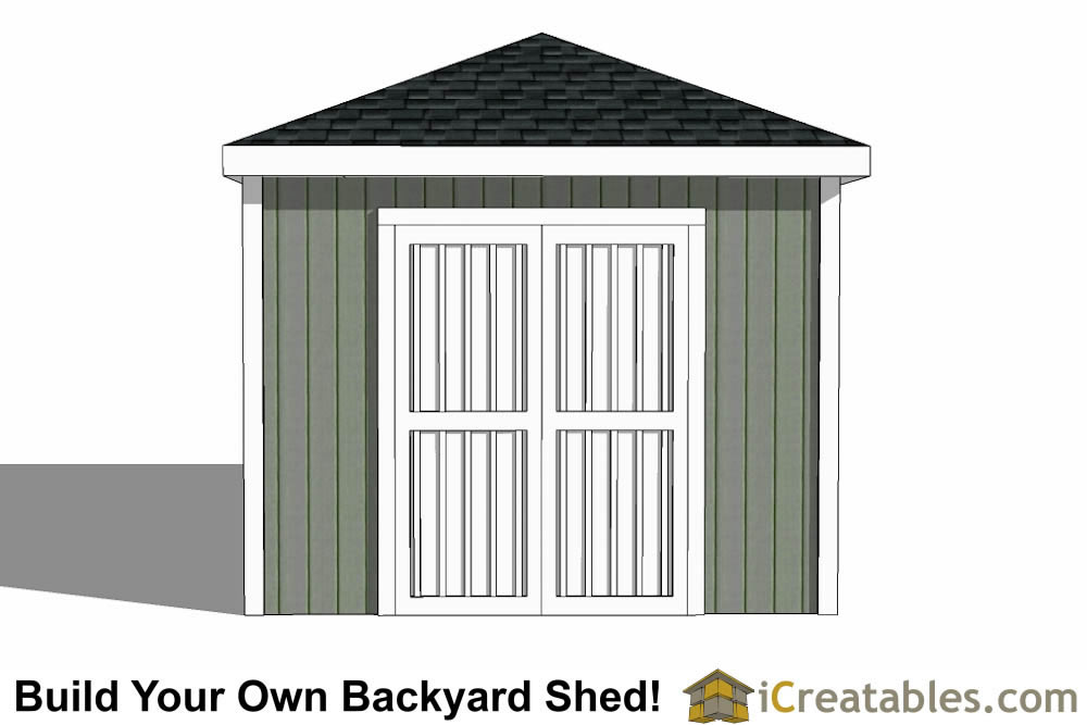 10x16 Hip Roof Shed Plans elevation