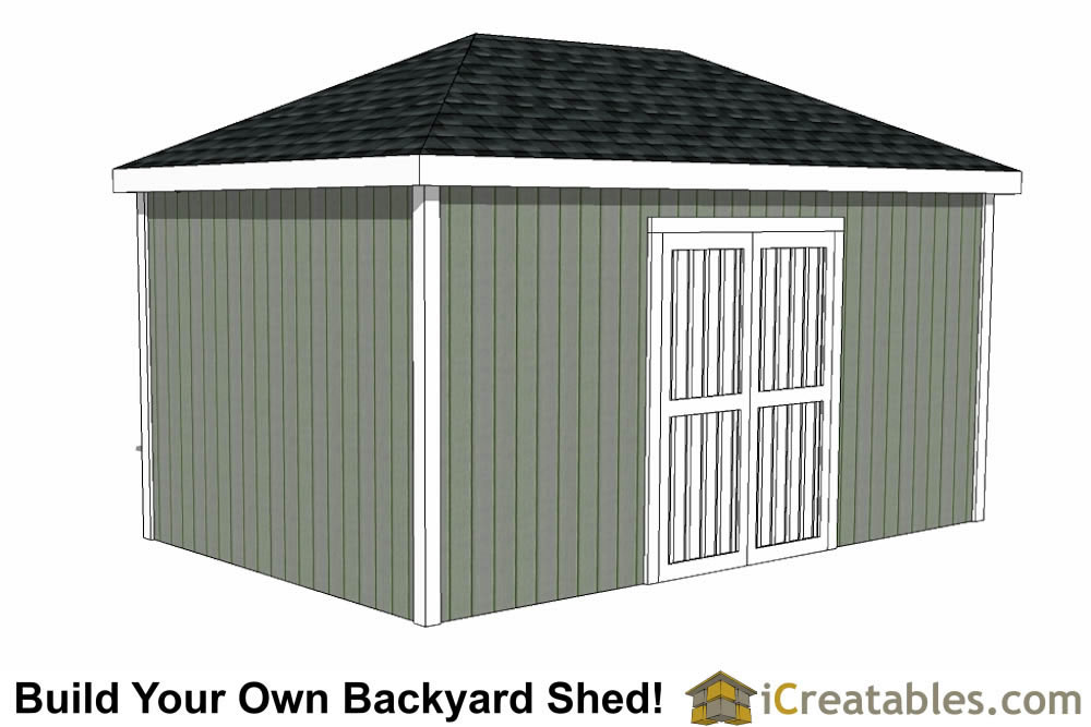 10x16 Hip Roof Shed Plans double door side