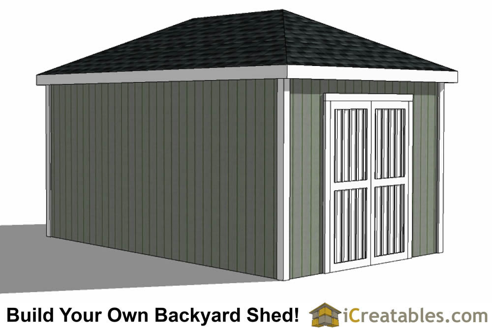10x16 Hip Roof Shed Plans double door end