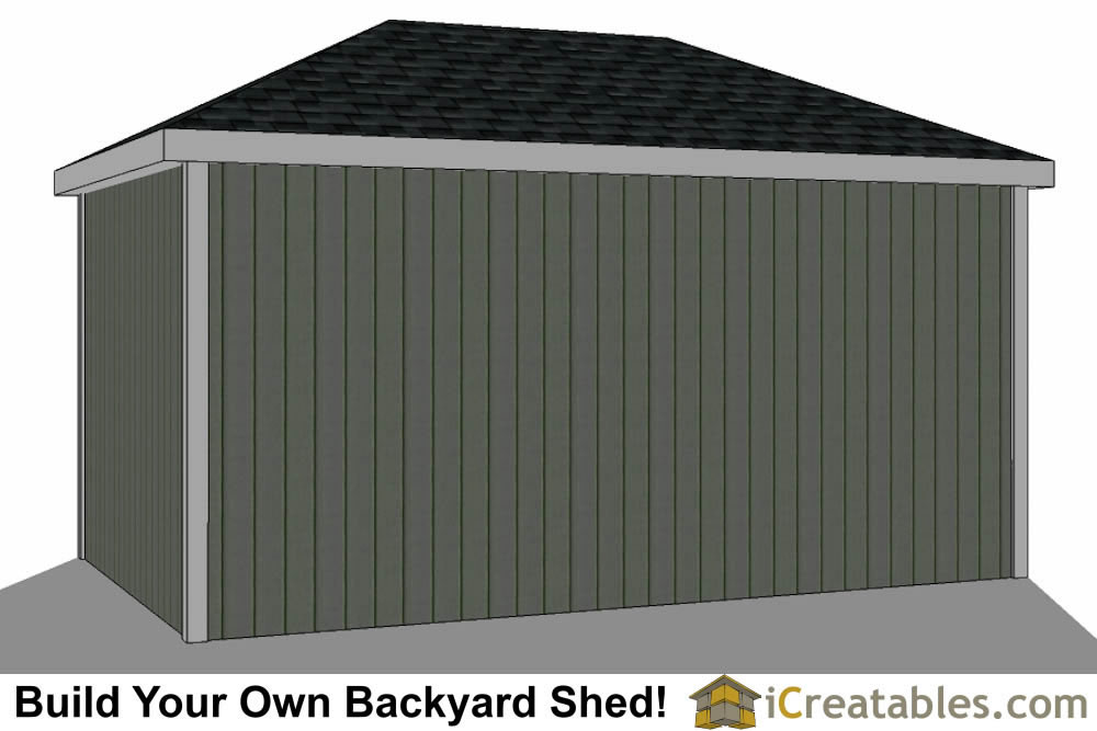 10x16 Hip Roof Shed Plans rear view