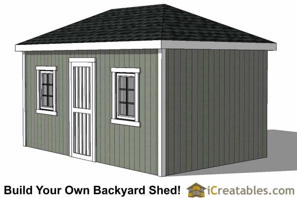 10x16 Hip Roof Shed Plans windows