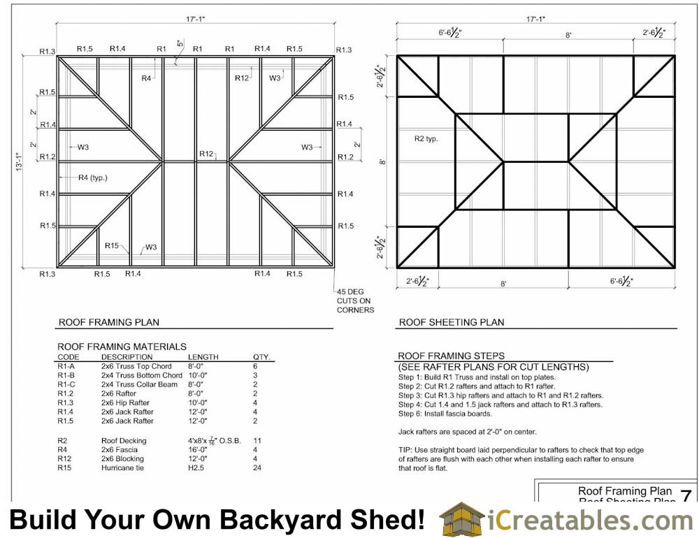 10x16 hip roof shed plans for Hip roof design plans