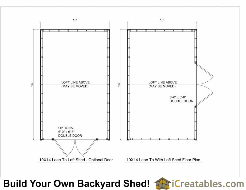 10x16 lean to shed plans with loft for Shed floor plans