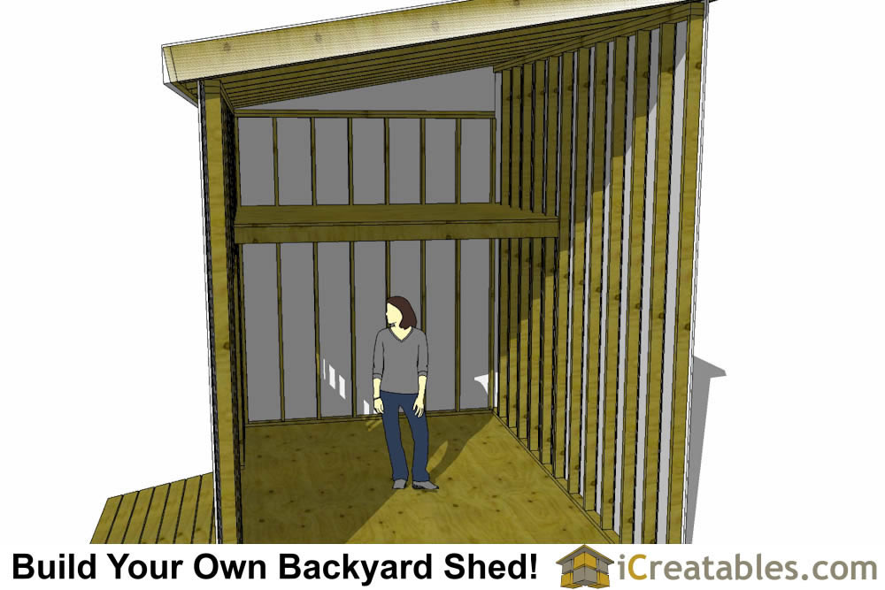 10x16 lean to shed plans loft shown with person