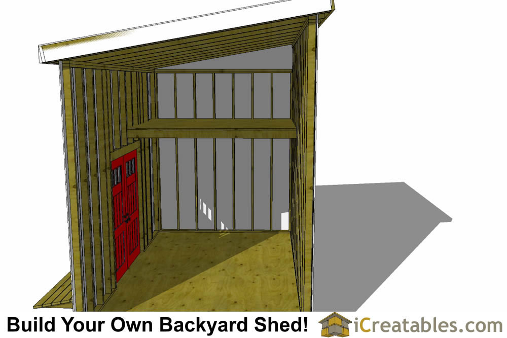 10x16 lean to shed plans with loft interior