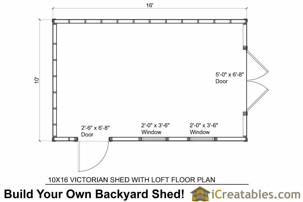 10x16 Traditional Victorian Style Storage Shed Floor Plan