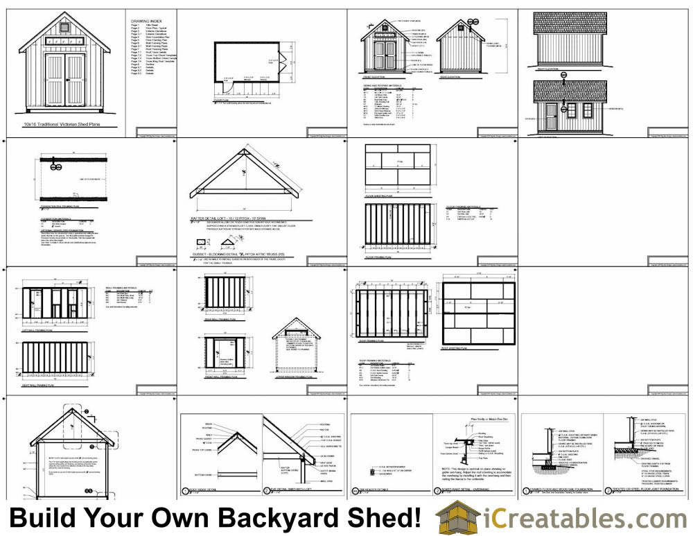 10x12 Traditional Victorian Style Storage Shed Plans