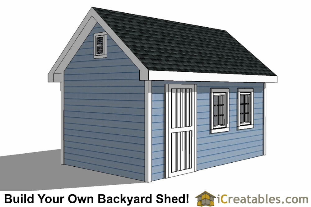 10x16 Traditional Victorian Style backyard storage shed right