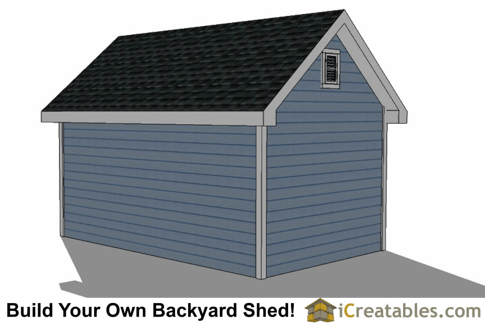 10x16 Traditional Victorian Style Storage Shed Plans right rear