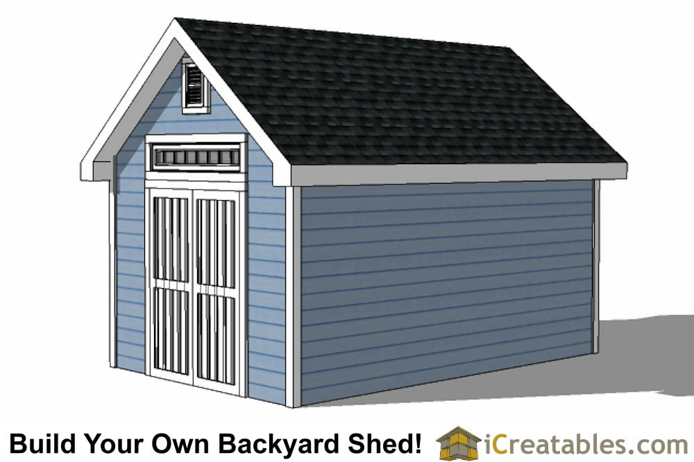 10x16 Traditional Victorian Style Storage Shed Plans right side