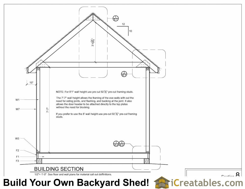 10x16 Garden Shed Section Showing Loft, Attic Storage Truss