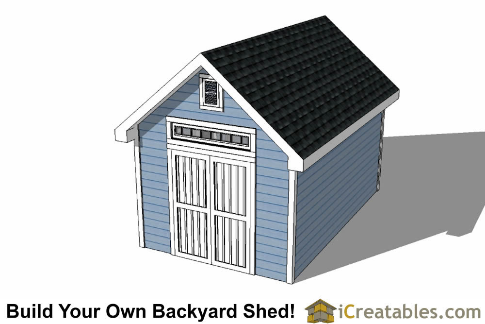 10x16 Traditional Victorian Style Storage Shed Plans top view