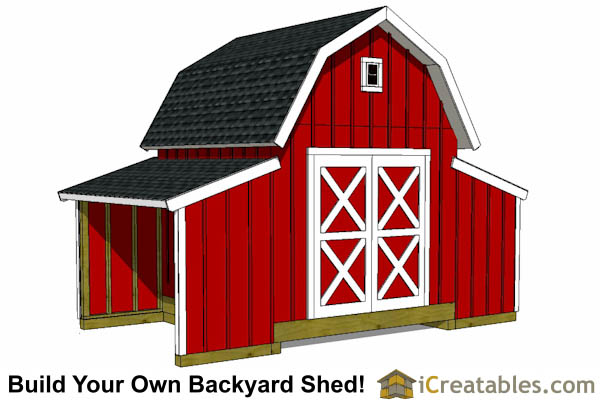 10x18 gambrel small barn shed plans