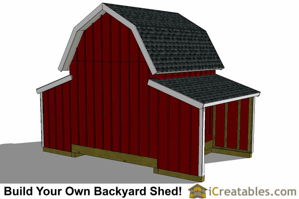 10x18 Raised Center gambrel barn shed plans Rear View