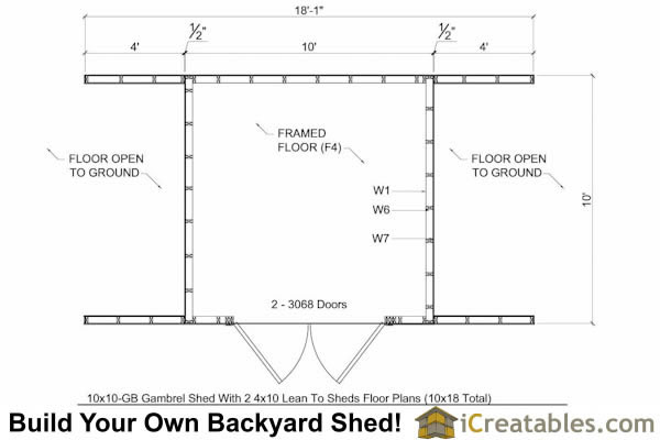 10x18 Gambrel Small Barn Shed Plans | Barn Shed Plans