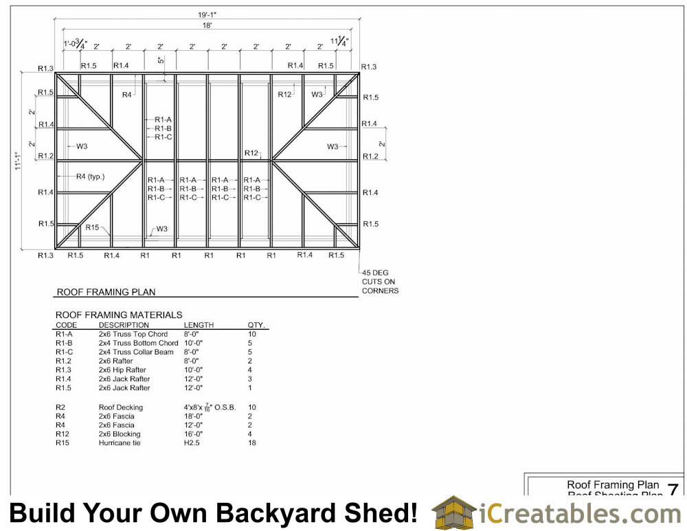 10x18 Hip Roof Shed Plans