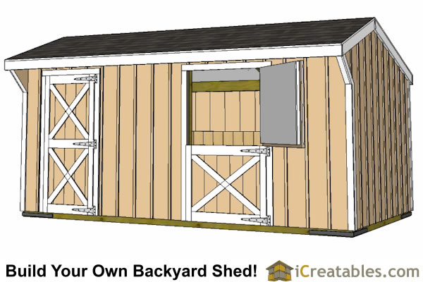 10x18 small horse barn plans single stall horse barn plans for Horse stall door plans