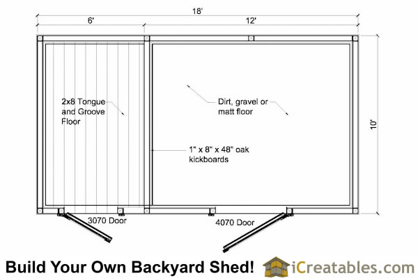 10x18 Small Horse Barn Plans Single Stall Horse Barn Plans