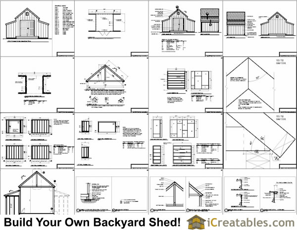 10x18 raised center aisle small barn shed plans