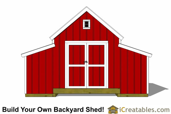 10x18 Raised Center Aisle Barn Shed Plans elevation