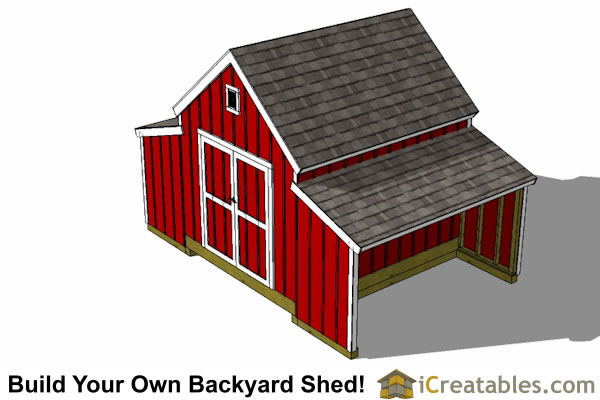 10x18 Raised Center Aisle Barn Shed Plans top view