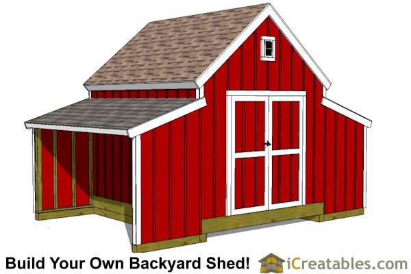 10x18 Raised Center Aisle Barn Shed Plans