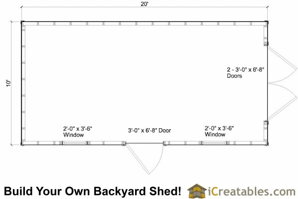 10x20 Colonial Garden Shed Floor Plans
