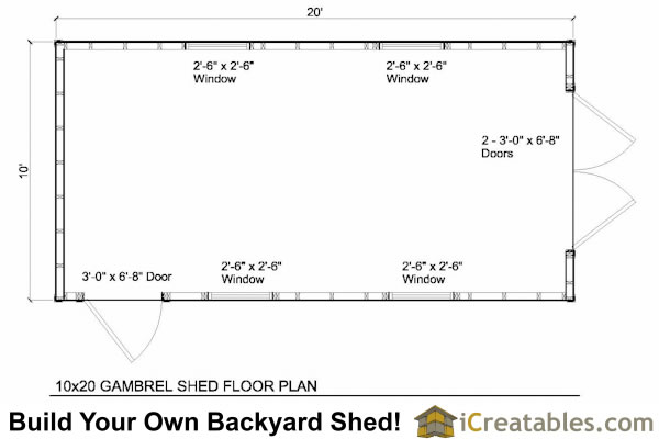 10x20 gambrel shed floor plans