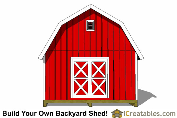 10x20 Gambrel shed plans end view