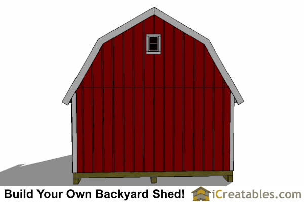10x20 gambrel shed rear elevations