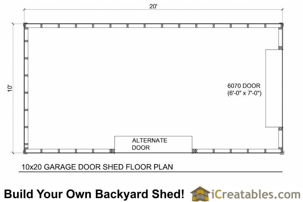 10x16 shed with garage door floor plan