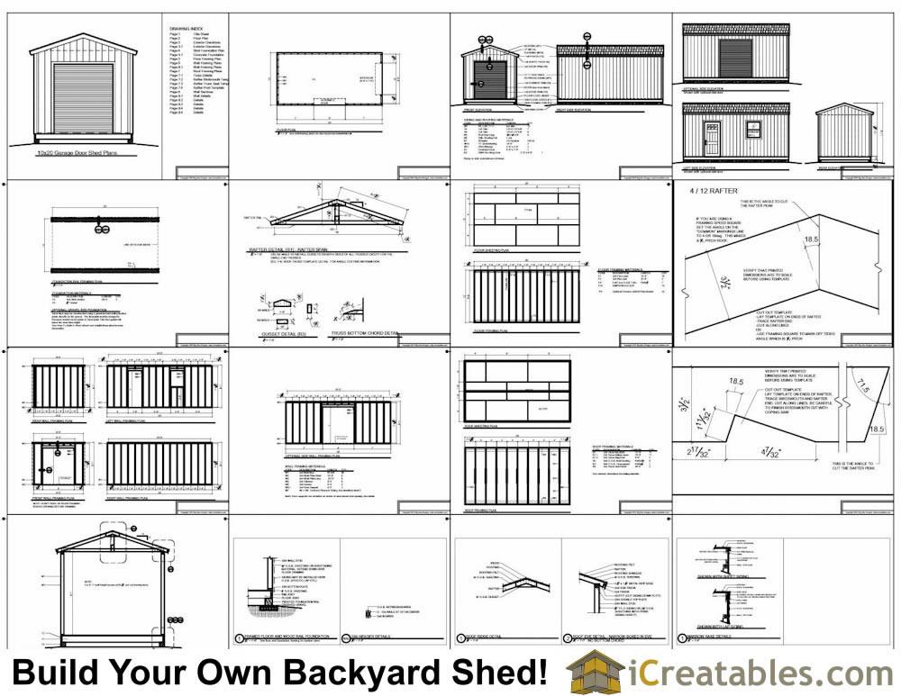 10x16 shed with garage door plans  sc 1 st  iCreatables.com & 10x20 Shed Plans With Garage Door | icreatables pezcame.com
