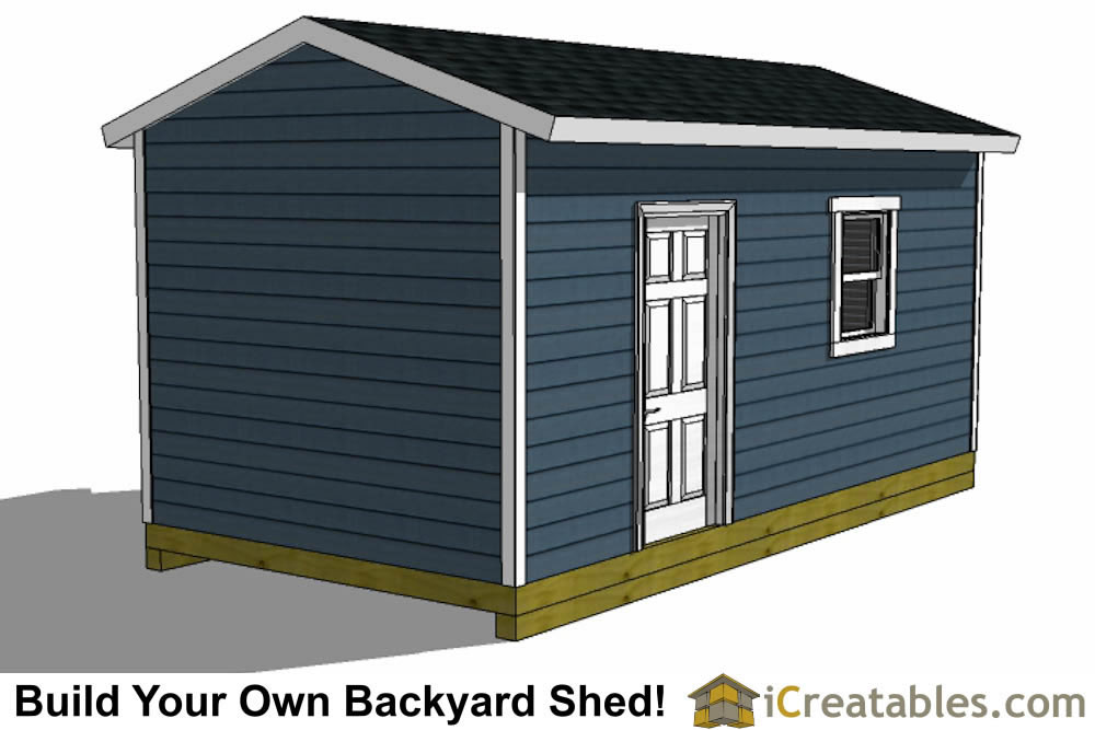 10x16 shed plans with garage door rear view