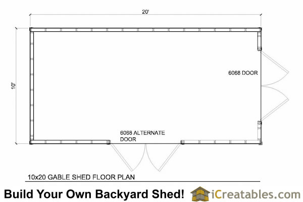 10x20 gable shed plans icreatables sheds for Shed floor plans