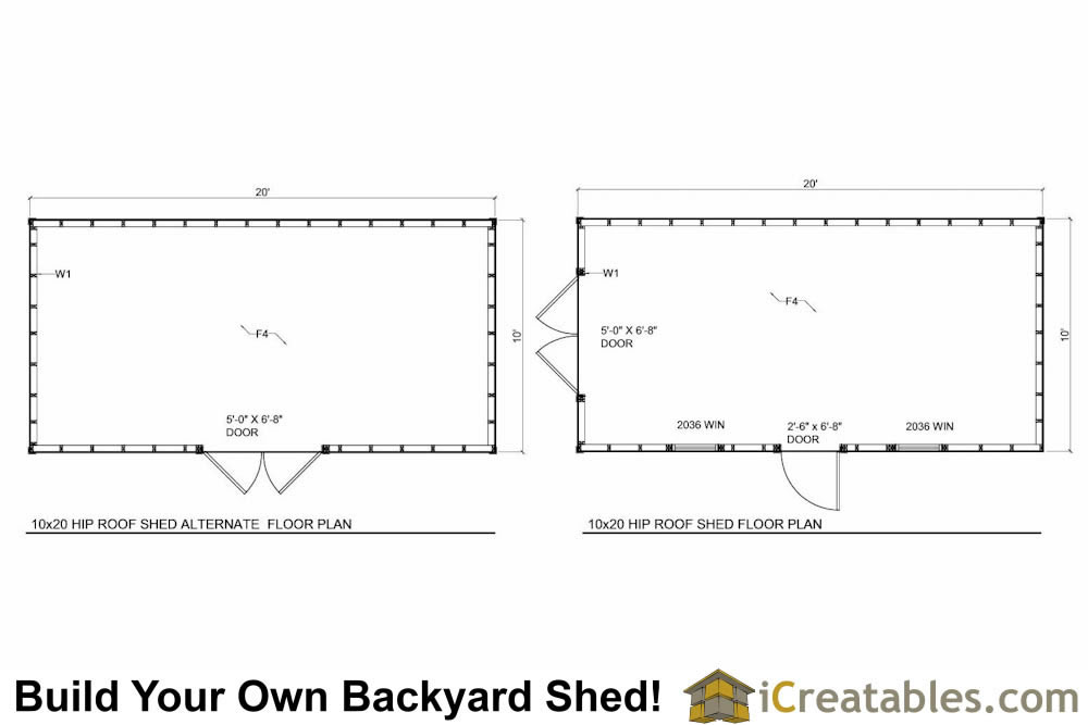 10x20 Hip Roof Shed Plans floor plans