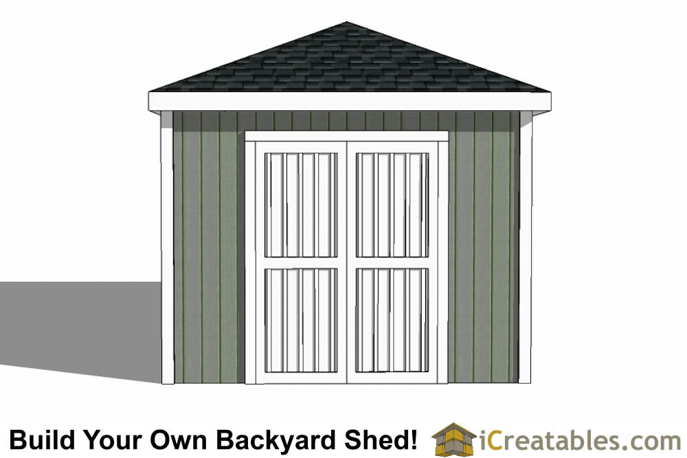 10x20 Hip Roof Shed Plans elevation