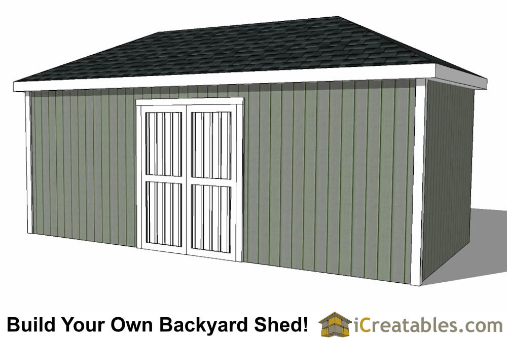 10x20 Hip Roof Shed Plans double door side