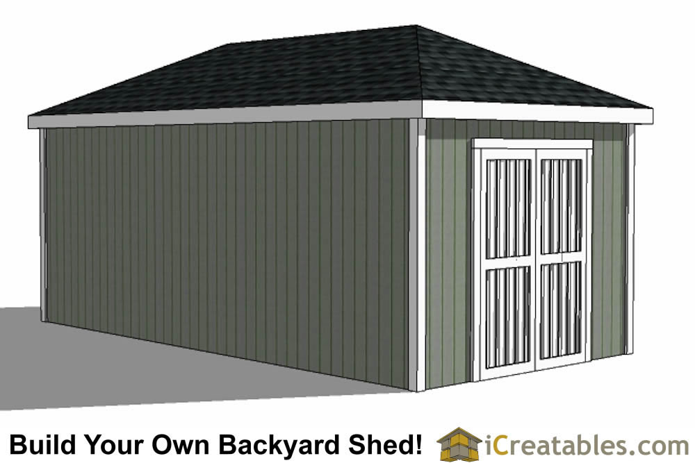 10x20 Hip Roof Shed Plans double door end