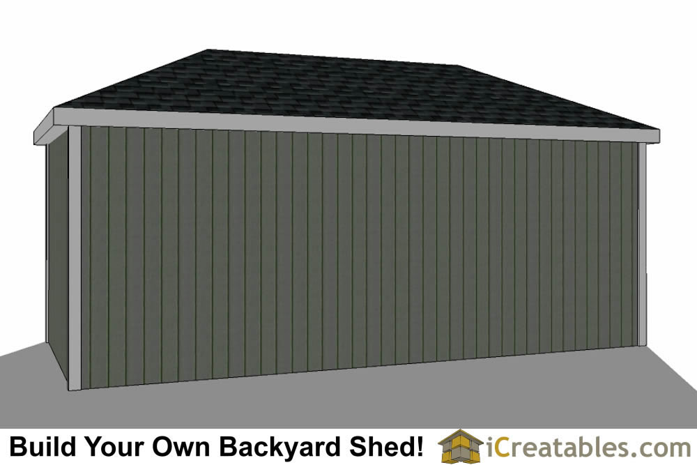 10x20 Hip Roof Shed Plans rear view