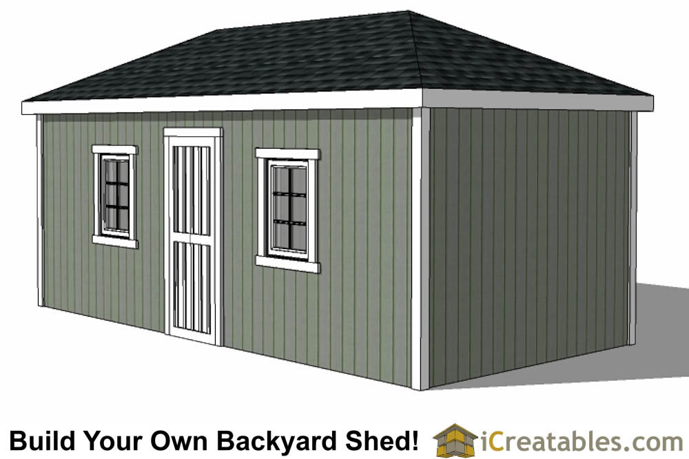 10x20 Hip Roof Shed Plans windows