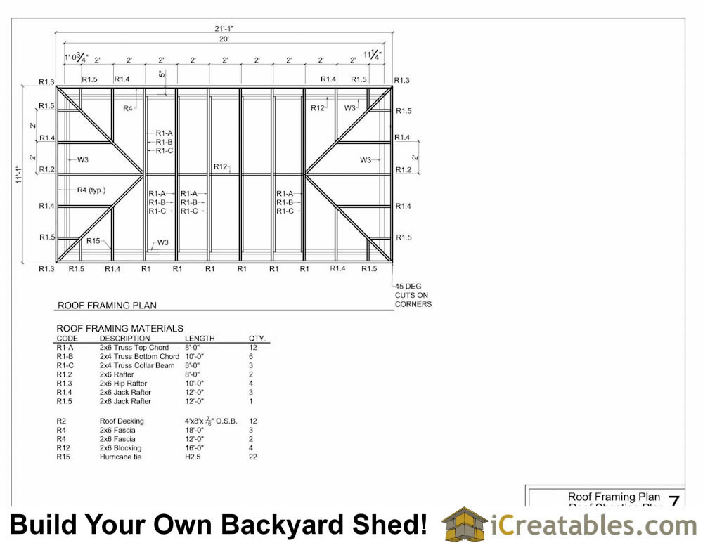 10x20 hip roof shed plans for Roof plans